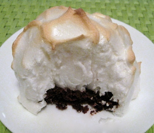 Brownie Baked Alaska - In this version, a brownie base is covered with lemon gelato, then topped with meringue.